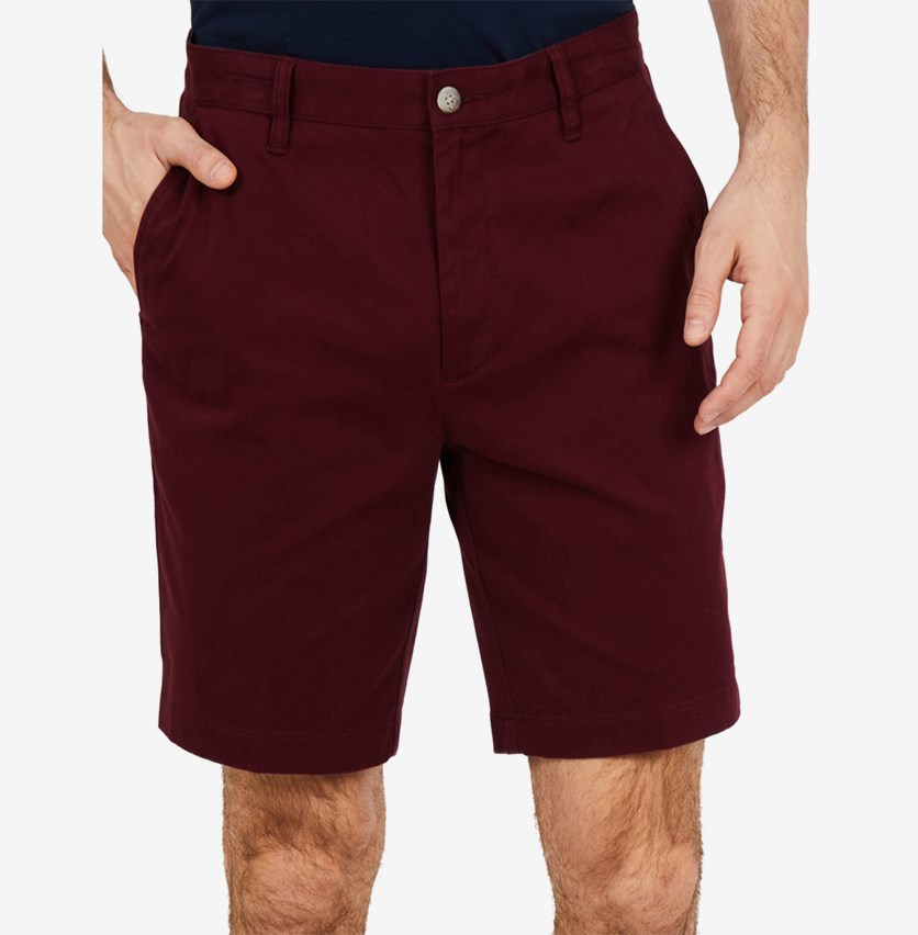 Mens Classic-Fit Stretch Deck Shorts, Royal Burgundy