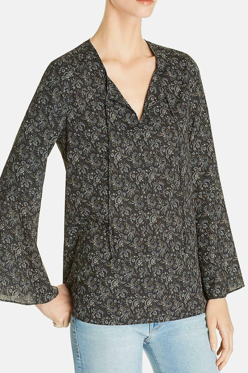 Womens Jani Printed Bell Sleeves Blouse, Black Combo
