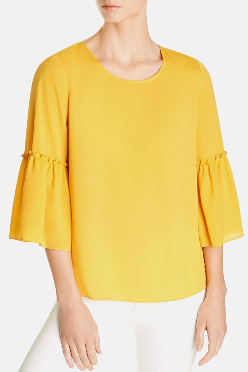 Elina Bell-Sleeve Blouse, Yellow Gold