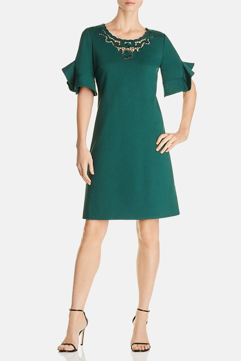 Miki Crochet-Neck Dress, Bottle Green