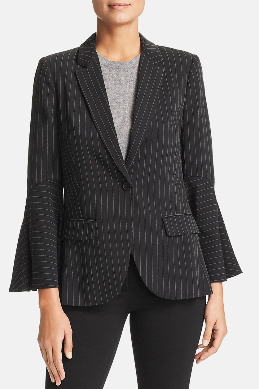 Womens Crepe Pinstriped One-Button Blazer, Black/White