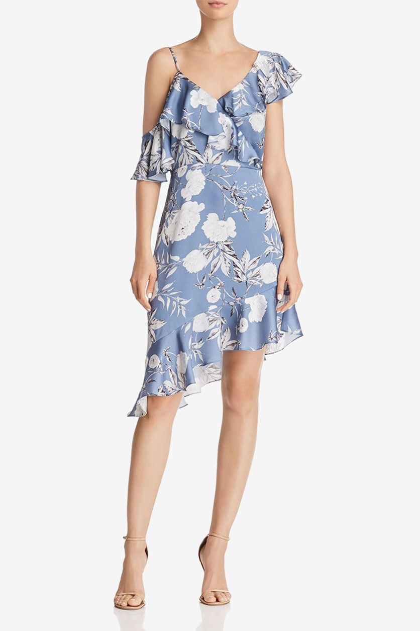 Womens Emely Satin Mini Party Dress, Blue Floral