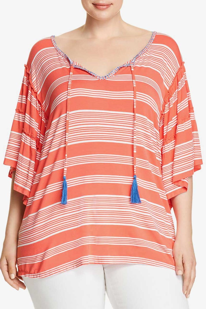 Women's Plus Ruffled Tie-Front T-Shirt, Coral