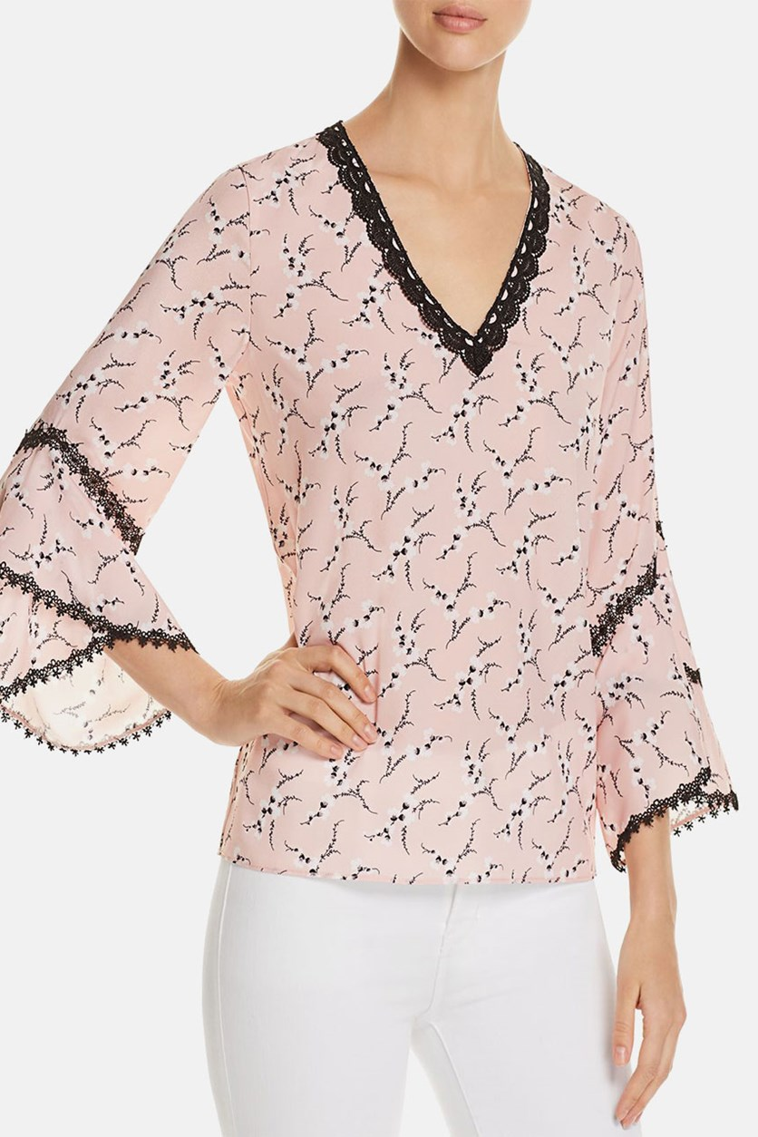 Womens Maxima Lace Trim Floral Print Blouse, Rose
