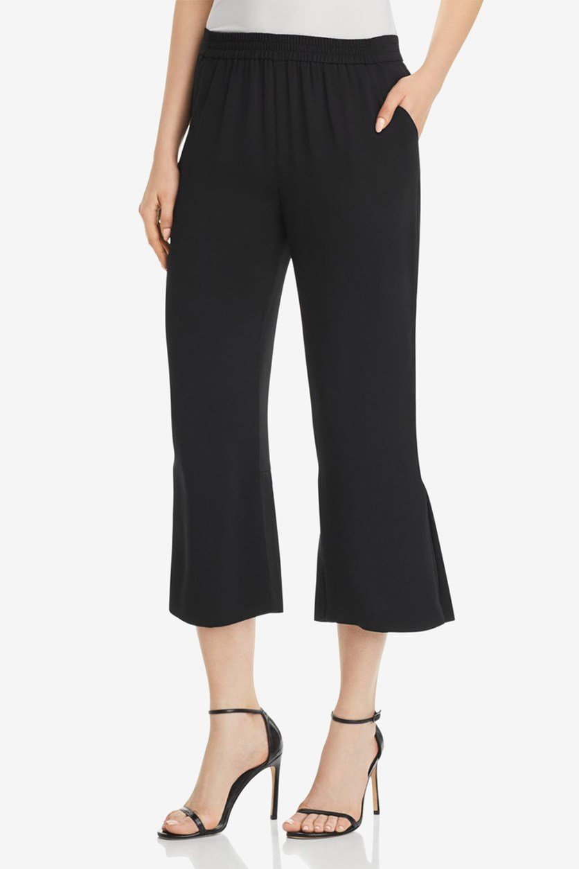 Womens Flare Pleated Cropped Pants, Black
