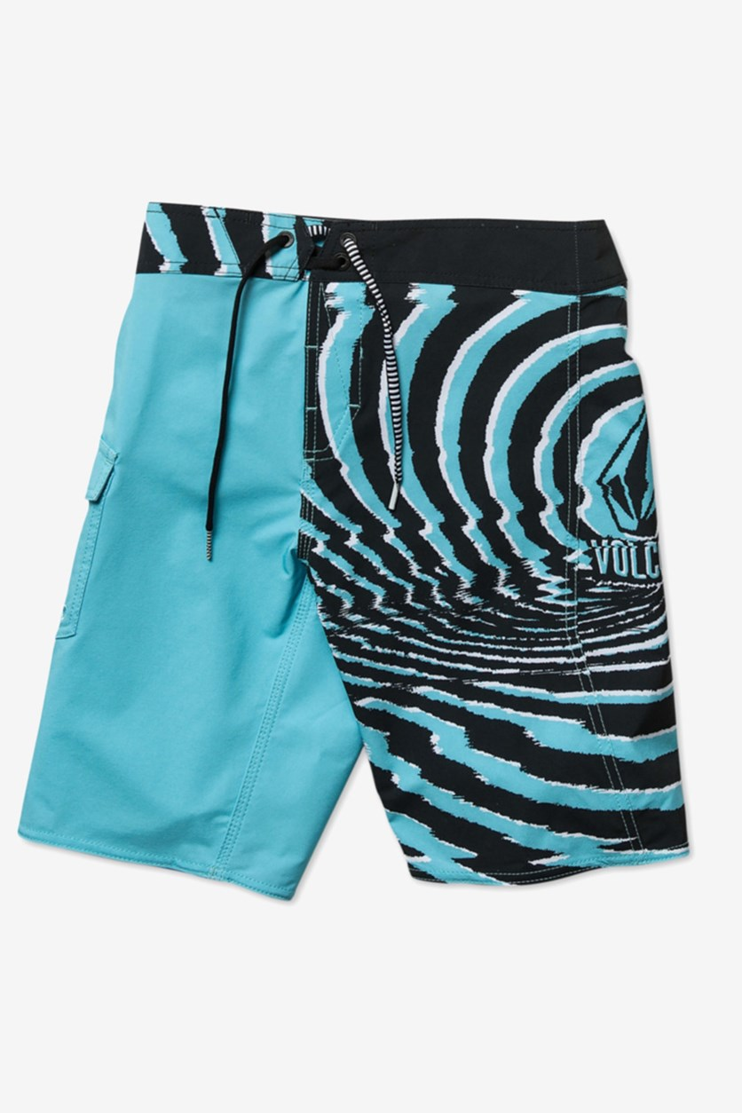 Boy's Drawstring Block Mod Boardshorts, Blue/Black