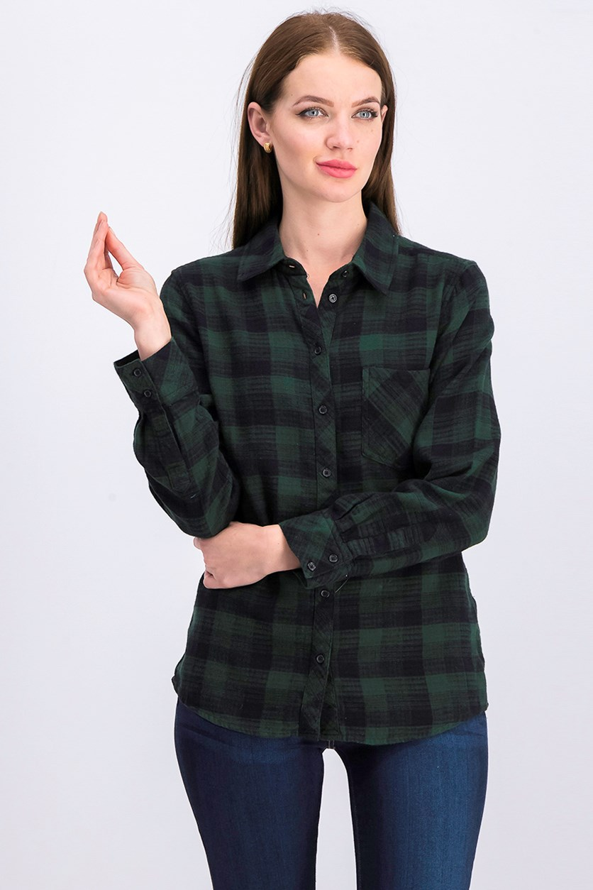 Women's Plaid Top, Green Combo