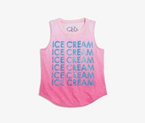 Chaser Girls' Ombre Ice Cream Glitter Muscle Tee, Pink