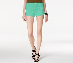 Celebrity Pink Women's Cuffed Colored Shorts, Green