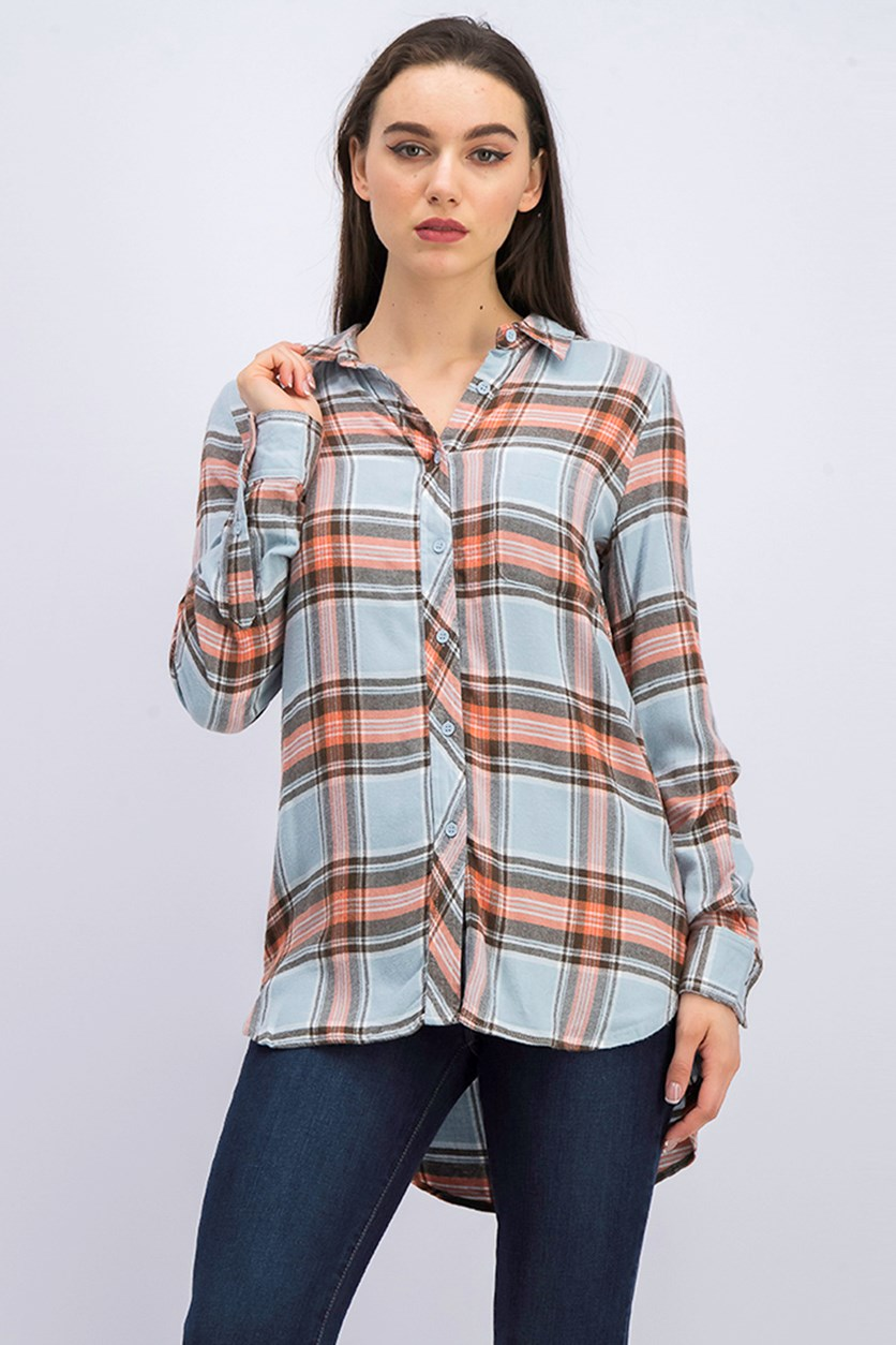Women's Plaid Shirt, Blue Combo