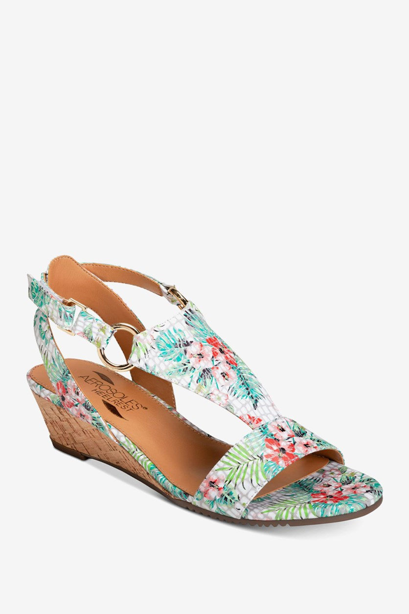 Women's Cream Brulee Wedge Sandals, Floral Combo