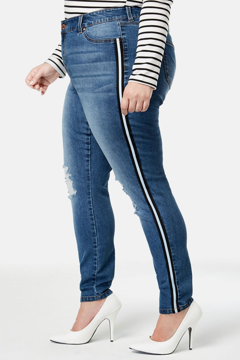 Plus Size Ripped Skinny Jeans, Lila