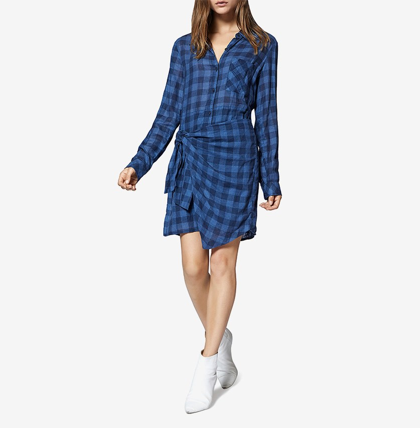 Ani Checkered Side-Tied Dress, Bluelife