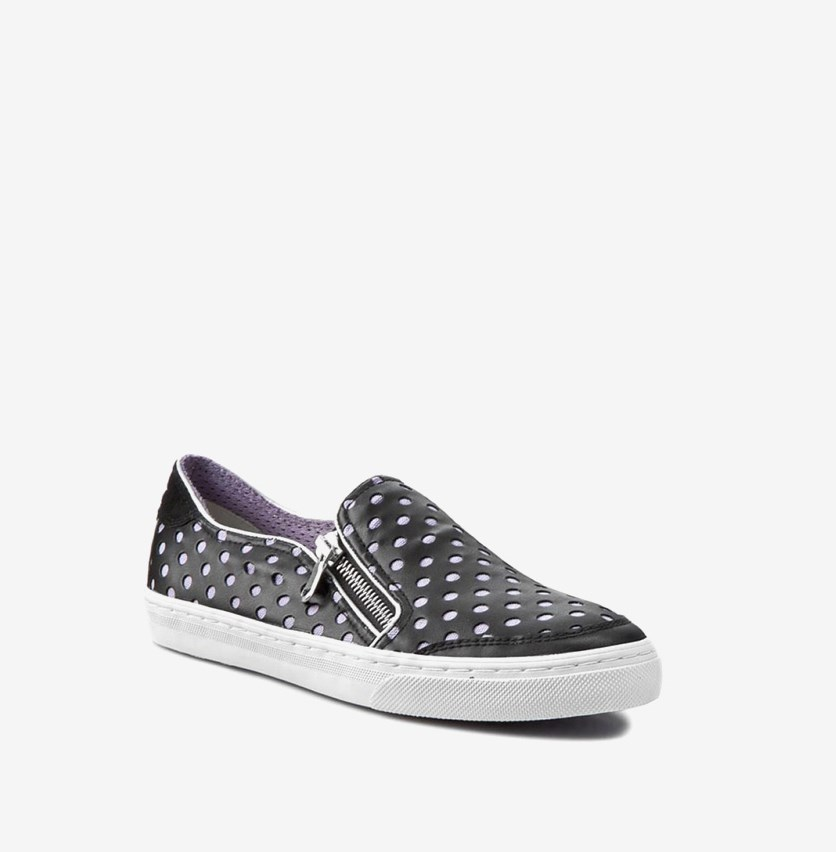 Women New Club Flat Shoes, Black/Lavender
