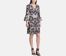 Dkny Women's Geometric Floral Bell Sleeve Dress, Black