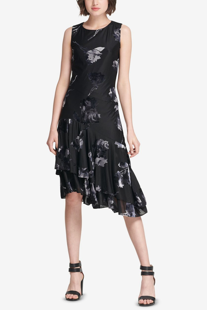 Women's Floral Asymmetrical Dress, Black