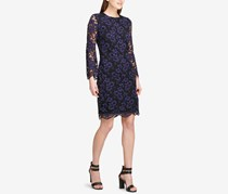 DKNY Womens Lace Sheath Cocktail Dress, Blueberry