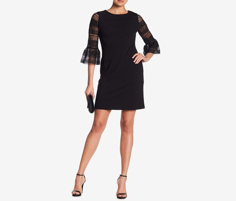 Women's Lace-Sleeve Sheath Dress, Black