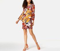Donna Ricco Floral Printed Bell-Sleeve Dress, Blush Combo
