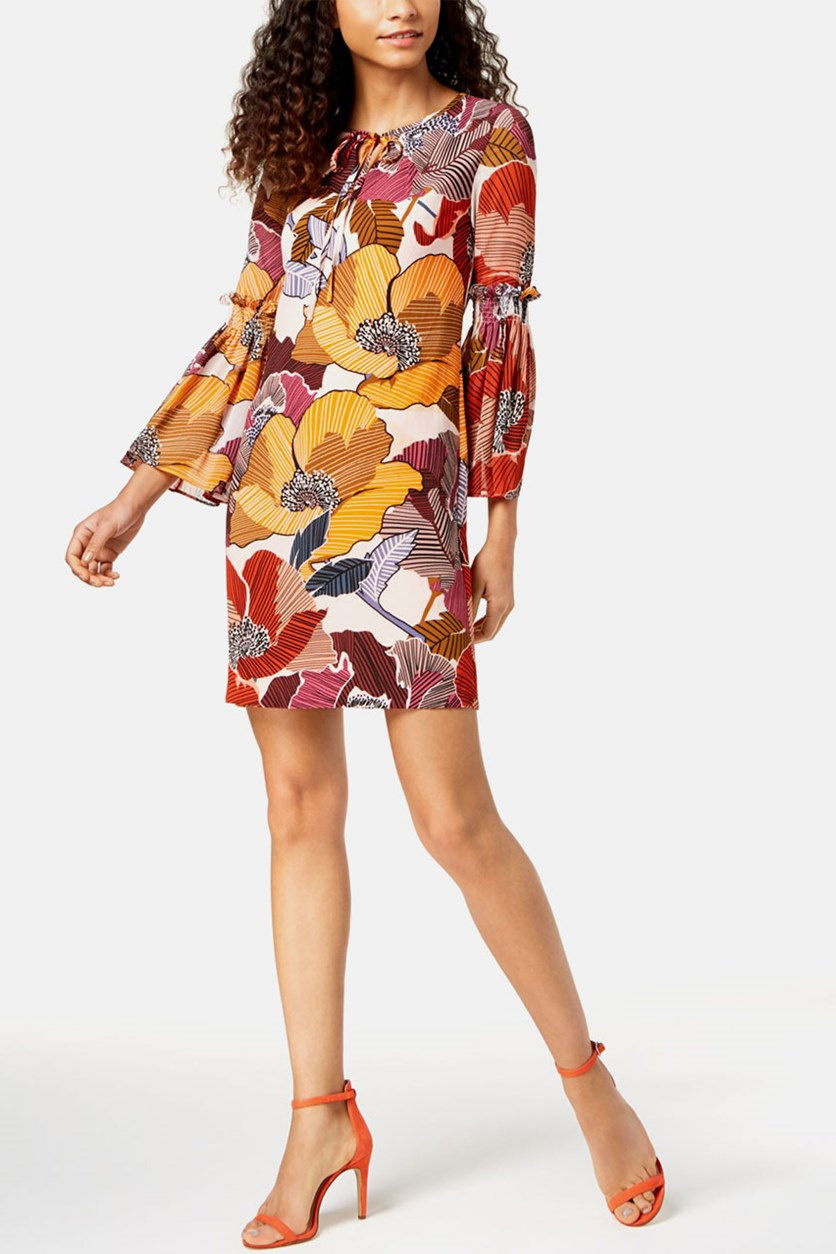 Floral Printed Bell-Sleeve Dress, Blush Combo