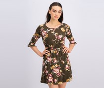 French Grey Women's Floral Print Dress, Olive Combo
