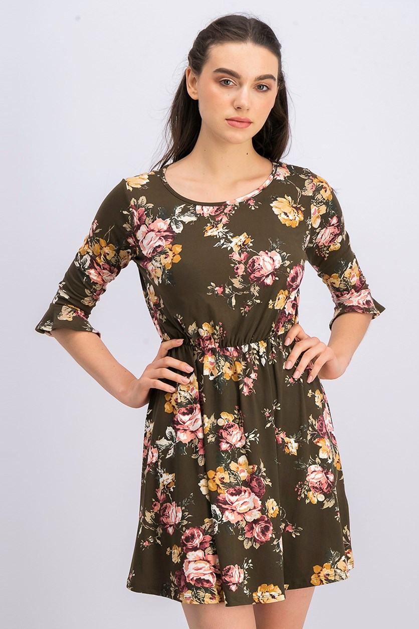 Women's Floral Print Dress, Olive Combo