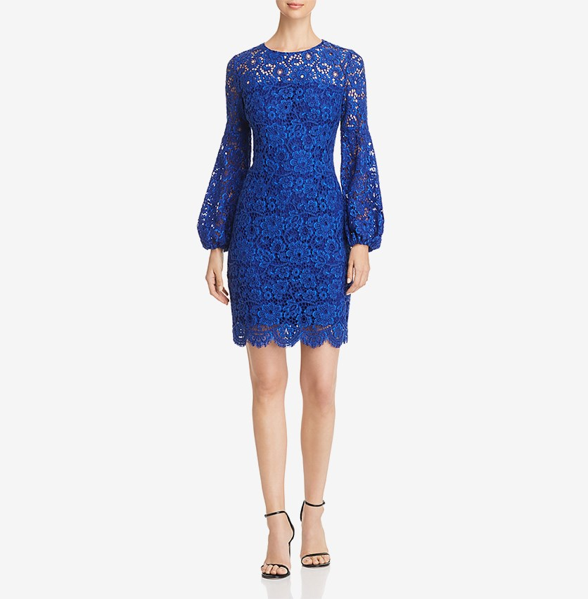 Women's Cocktail Lace Shift Dress, Blue