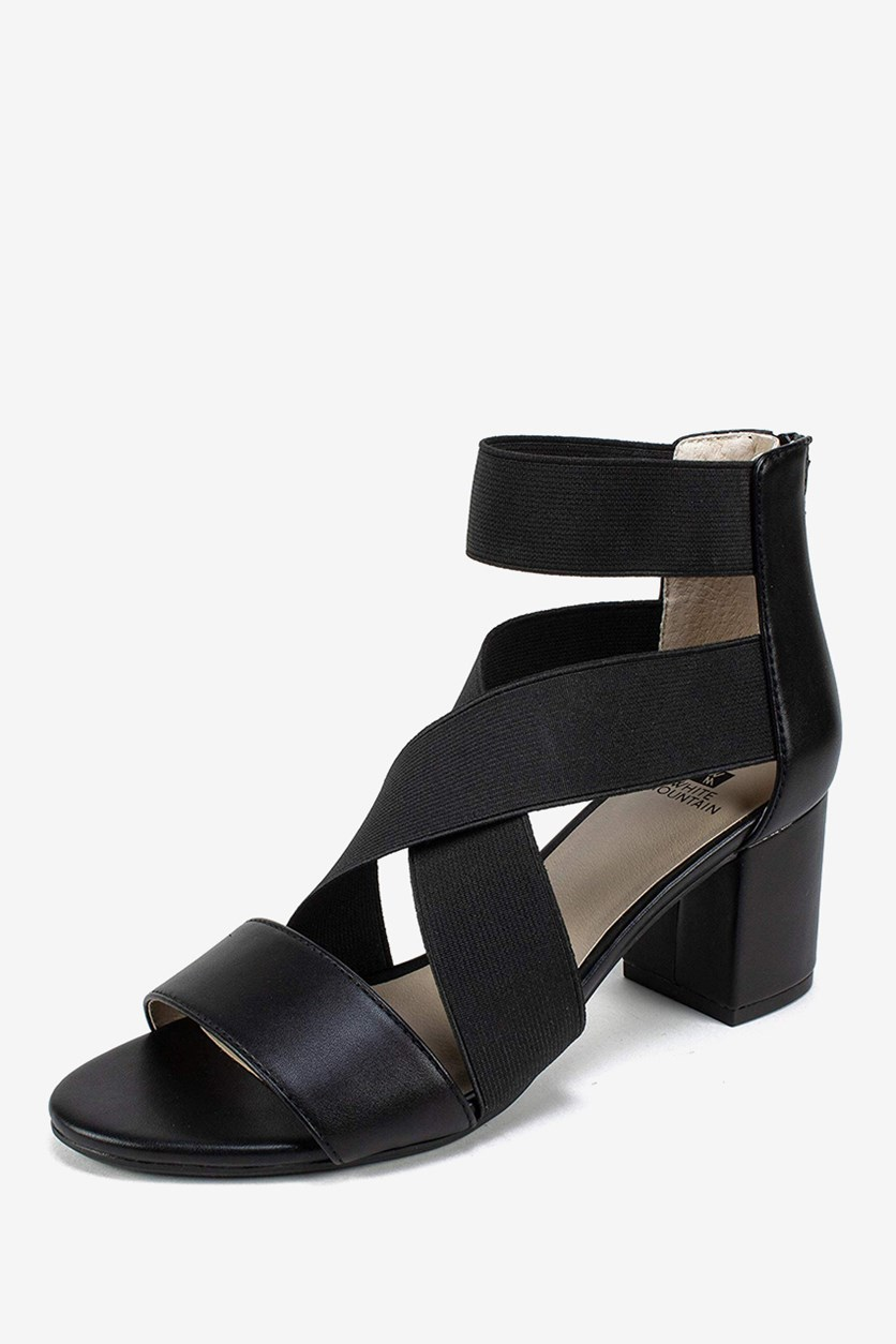 Edie Block-Heel Sandals, Black