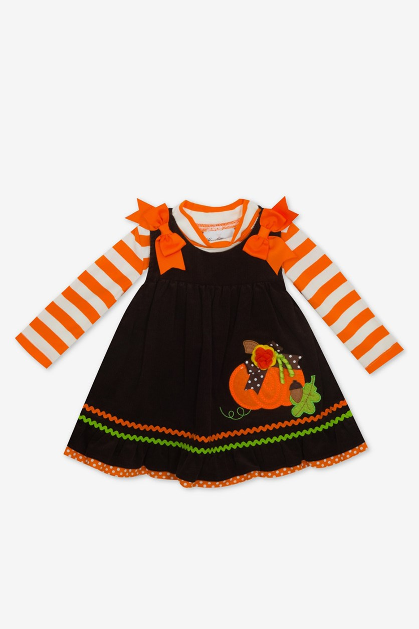 Baby Girls 2-Pc. Striped Bodysuit & Pumpkin Jumper Set, Orange/Brown