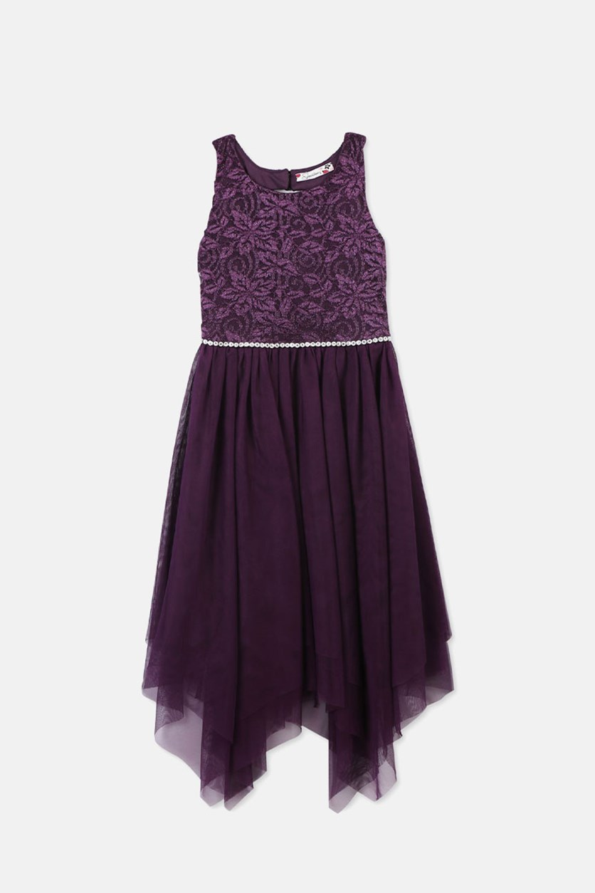 Girls Embellished Handkerchief Hem Dress, Dark Purple