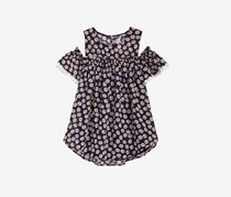 Big Girls Lace-Trim Cold Shoulder Top, Navy