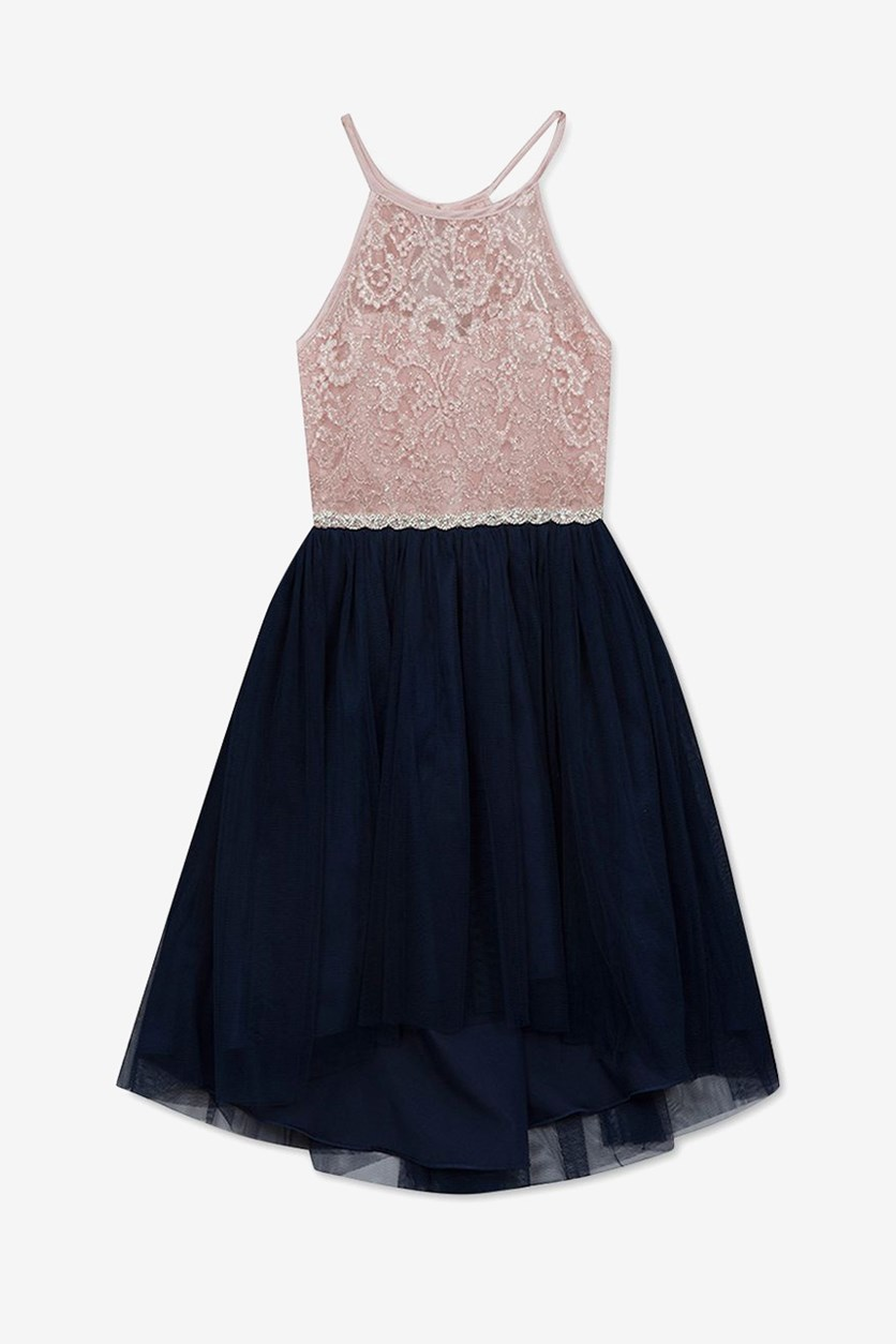 Big Girls Glitter Lace Dress, Pink/Navy Blue