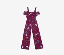 Rare Editions Big Girls Floral Print Jumpsuit, Maroon
