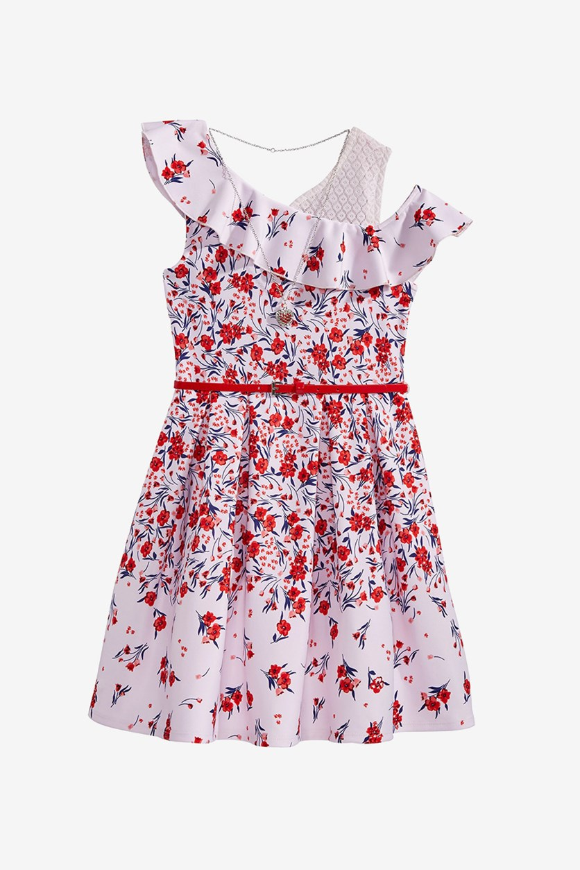 Big Girls 2-Pc. Layered-Look Floral-Print Dress & Necklace Set, Red Combo