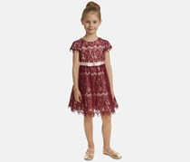Rare Editions Little Girls Lace Fit & Flare Dress. Burgundy