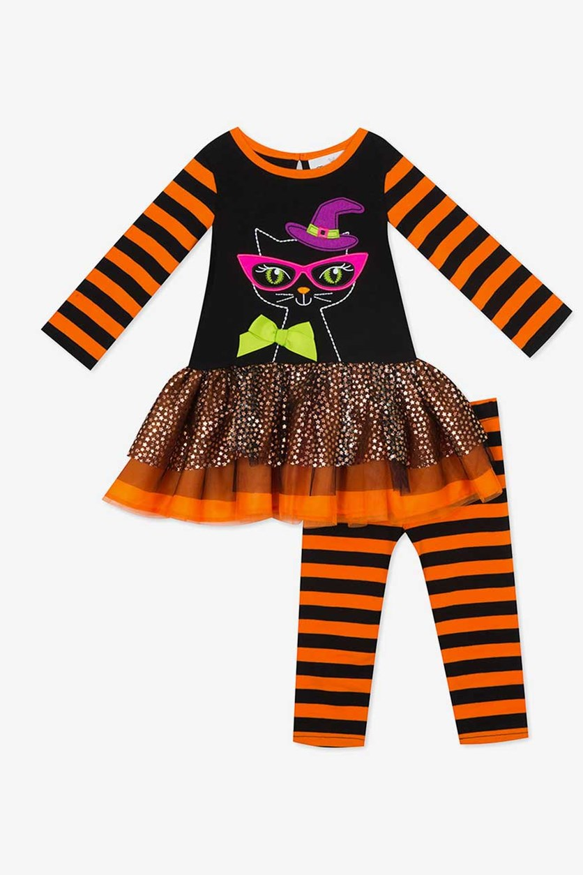 Toddler Girl's Brown Pink Animal Print Heart Dress And Legging Set, Black/Orange