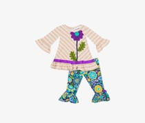 Rare Editions Toddler Girl's Floral Top And Pants Set, Brown/Navy Combo