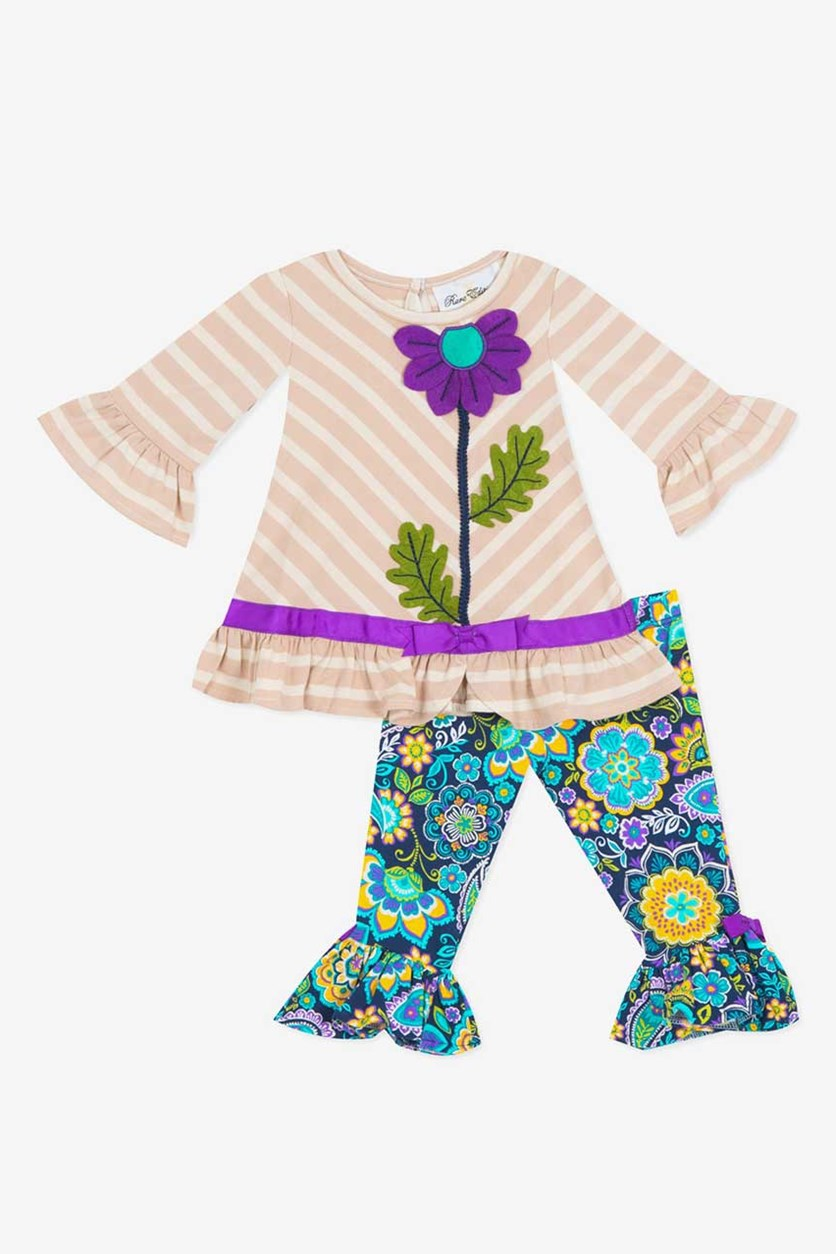 Toddler Girl's Floral Top And Pants Set, Brown/Navy Combo