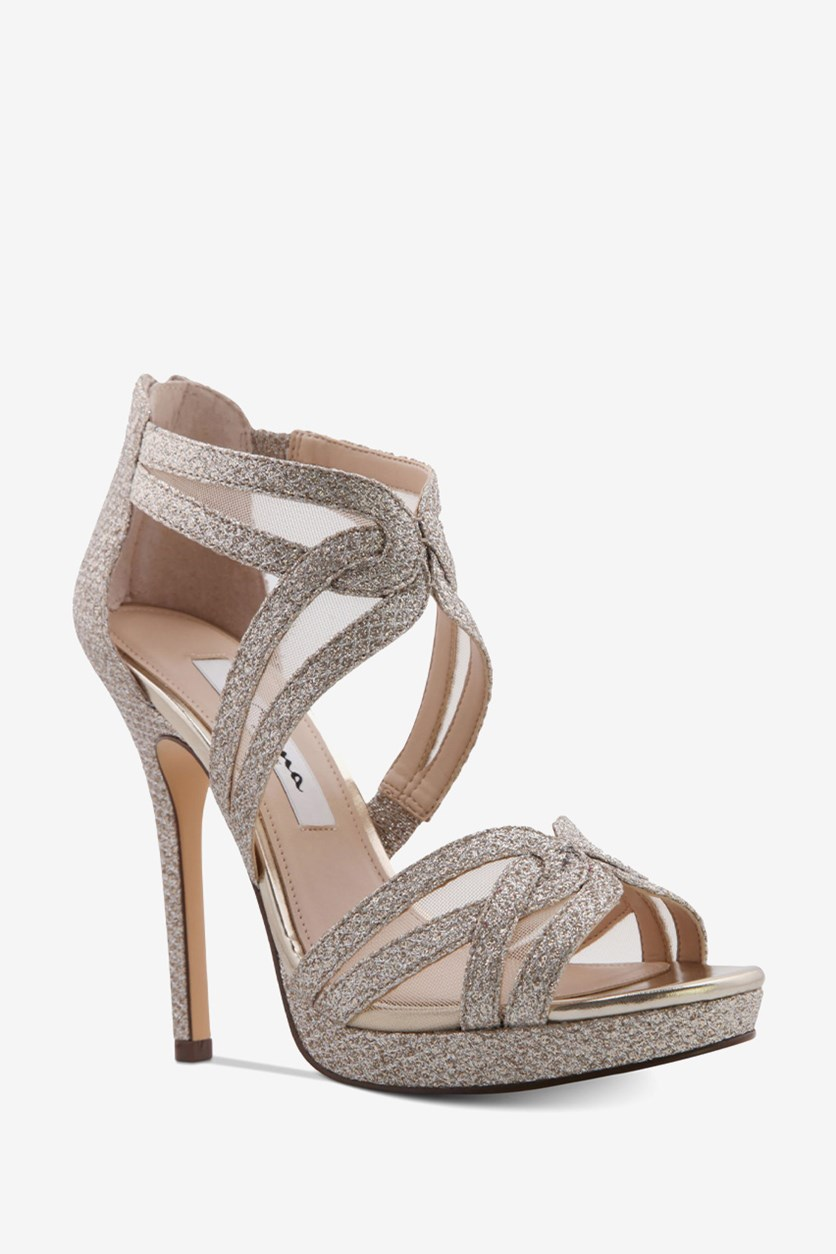 Fayette Platform Evening Sandals, Soft Platino