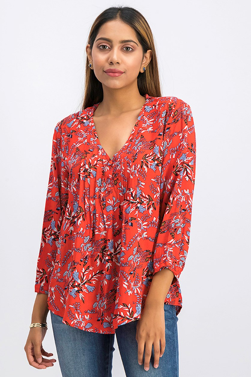 Women's Allover Print Blouse, Red Combo