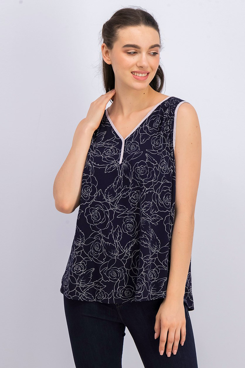 Women's Sleeveless Printed Top, Navy