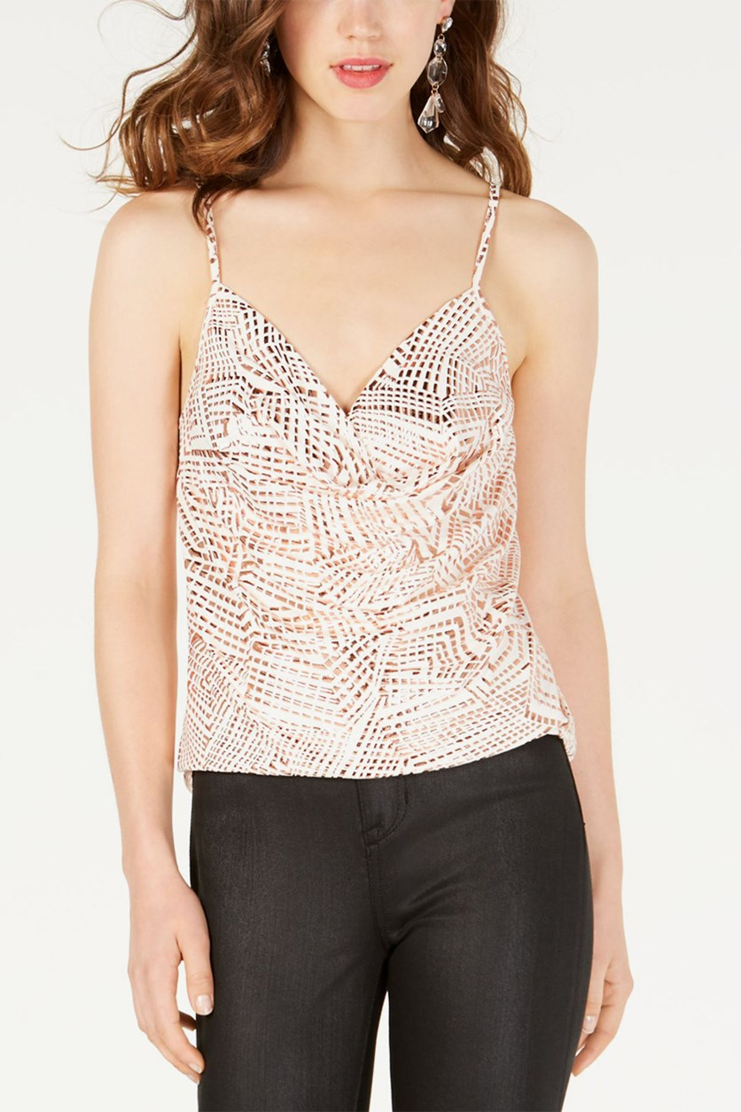 Juniors' Textured Camisole, Ivory/Rose gold