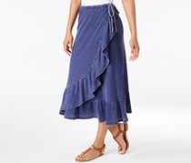 G.h. Bass & Co. Women's Faded Ruffled Wrap Skirt, Blue