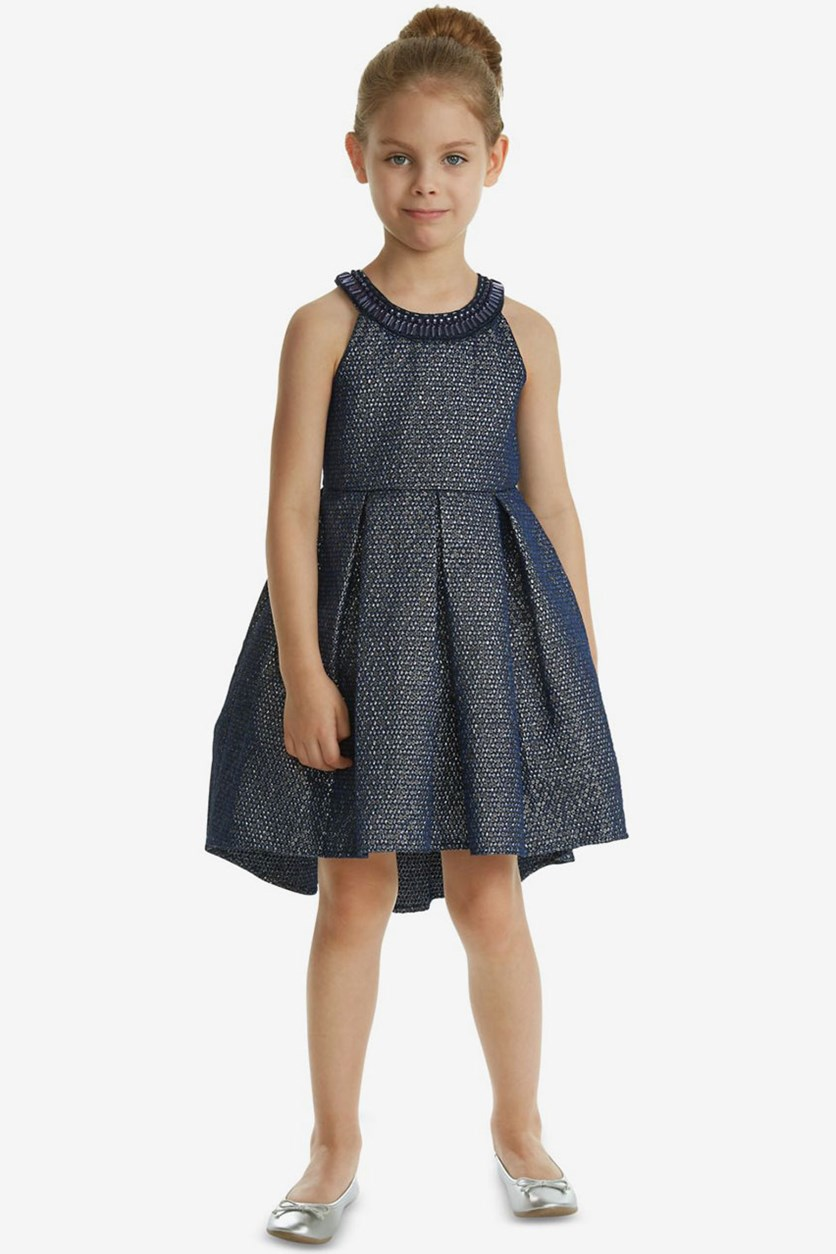 Toddler Girls Embellished-Neck Dress, Navy