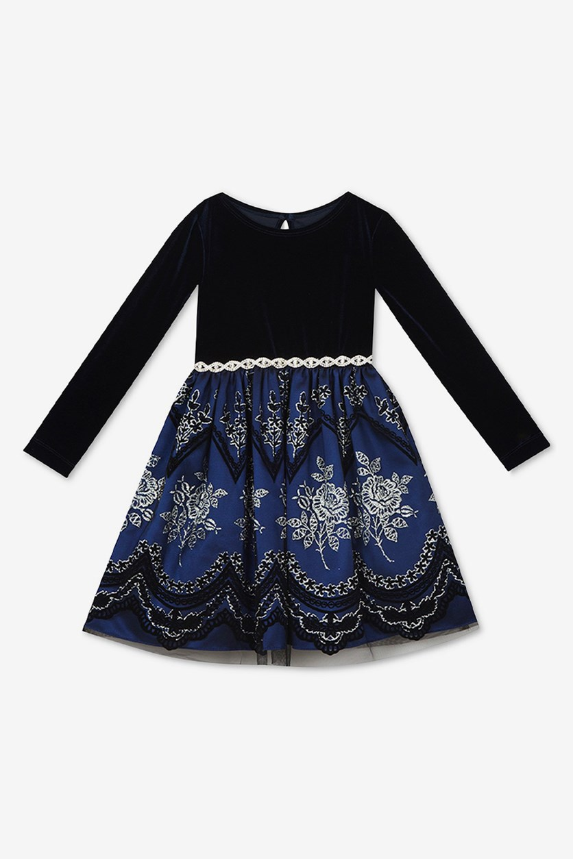 Toddler Girls Velvet Flocked Glitter-Mesh Dress, Navy