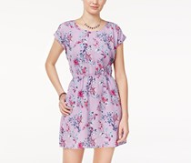 Hippie Rose Women's Cutout-Back Floral-Print Dress, Purple