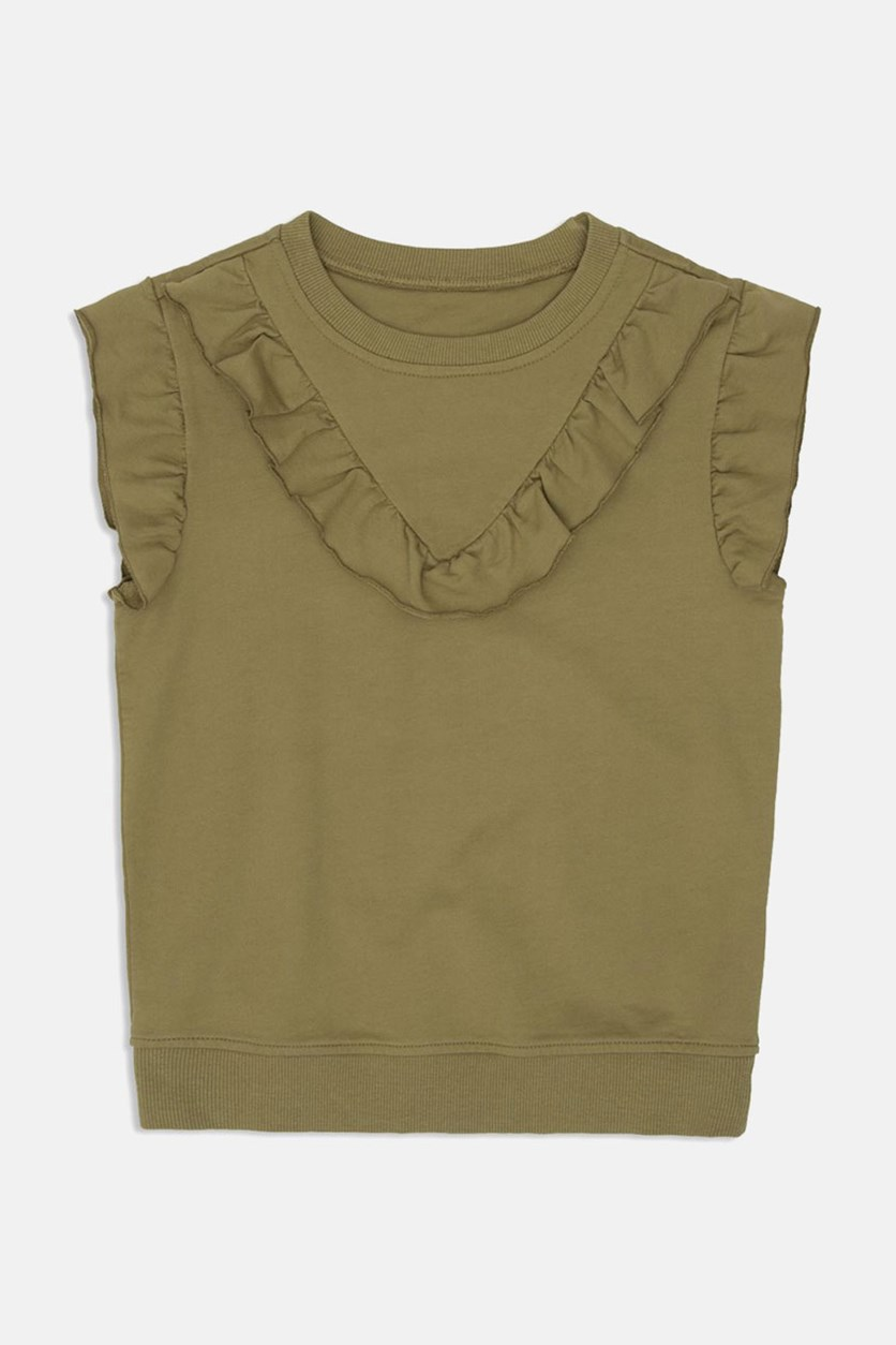 Girls' Ruffled French Terry Flutter-Sleeve Knit Top, Faded Olive