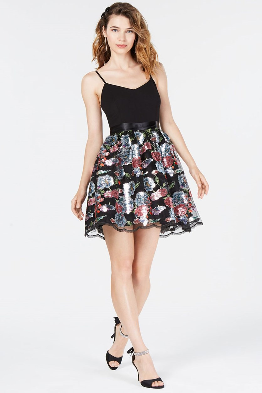 Juniors' Sequin-Contrast Fit & Flare Dress, Black Combo