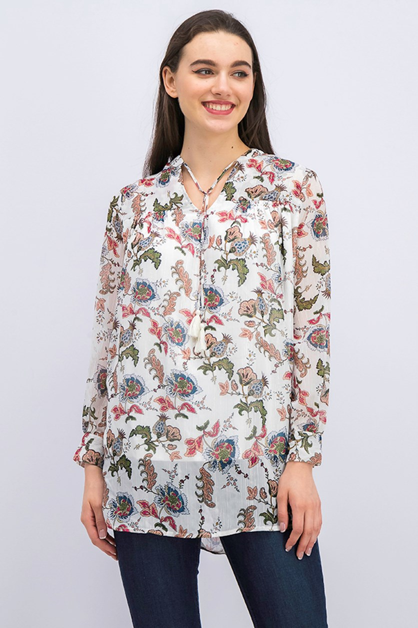 Madison Lily Women's Floral Blouse, White Combo