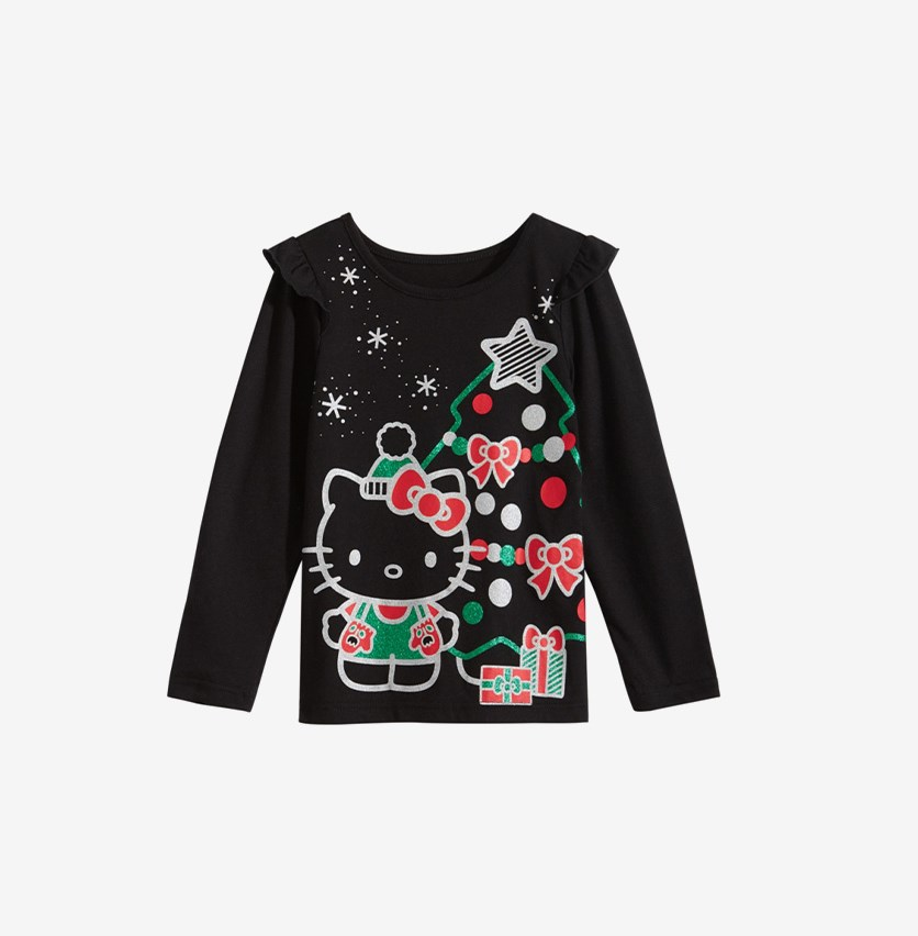 Girls Long Sleeve Graphic-Print T-Shirt, Black